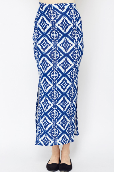 Tribal Print Midi Skirt