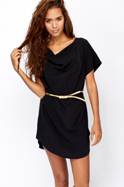 Belted Black Tunic Dress