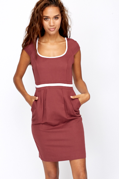 Contrast Trim Round Neck Dress