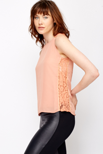 Lace Insert Sleeveless Blouse