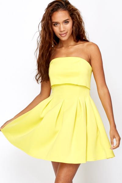 Yellow Pleated Bandeau Dress