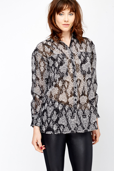 Black/White Sheer Blouse