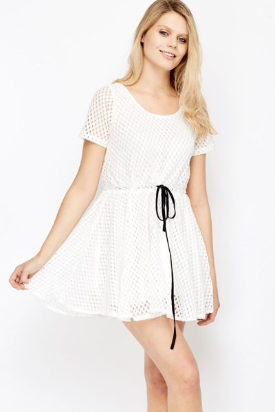 Crochet Overlay Skater Casual Dress