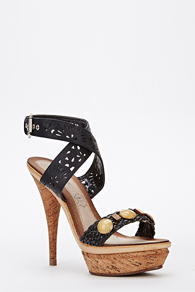 cd63f357cad Cut Out Strappy Heeled Sandals - Just £5