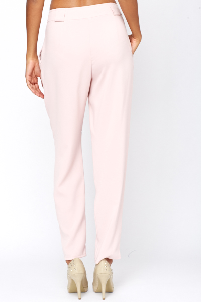 Pink High Waist Straight Leg Trousers