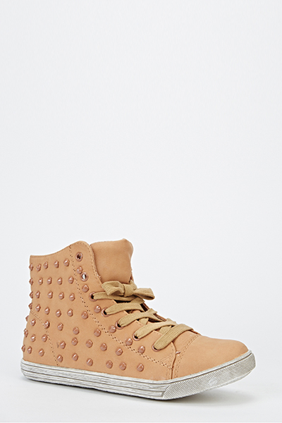 Studded Zipped High Top Trainers