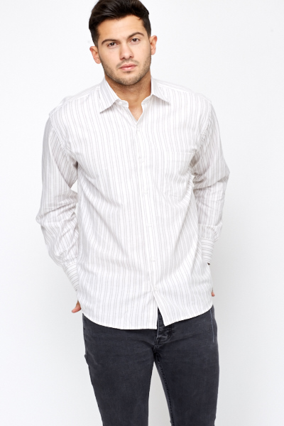 Cotton Contrast Stripe Shirt