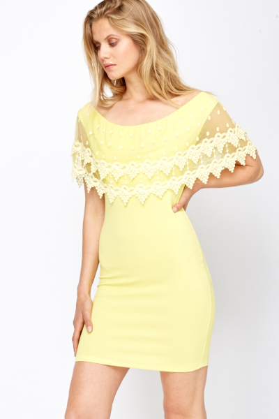 Crochet Mesh Overlay Bodycon Dress