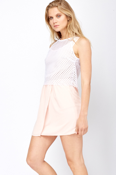 Crochet Overlay Skater Dress