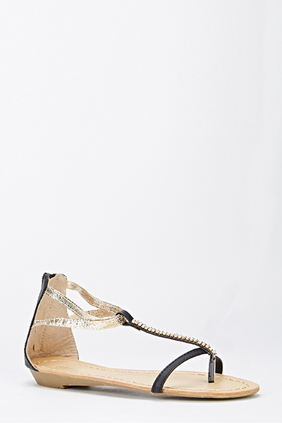 Encrusted Strap Two Tone Sandals