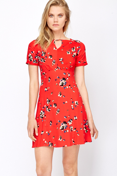 Red Floral Summer Dress - Just £5