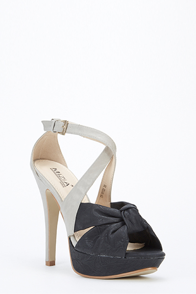 06c04368049 2 Tone Bow Front Heeled Sandals - Just £5