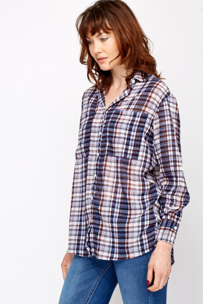 Checked Contrast Shirt