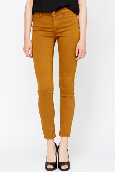 High Waisted Cotton Blend Jeggings
