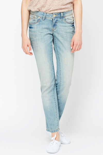 Washed Effect Out Jeans