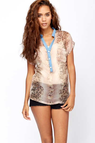 Denim Trim Leopard Print Sheer Blouse
