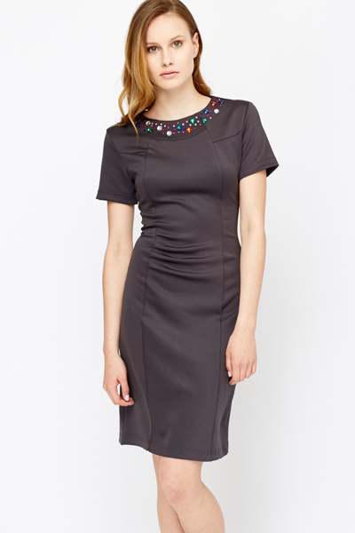 Image of Encrusted Neck Ruched Front Dress