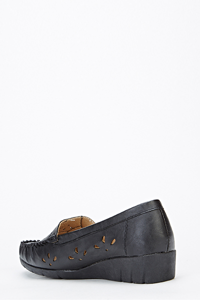 Faux Leather Cut Out Slip On Wedge
