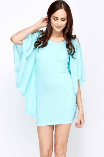 Ruffle Slit Sleeved Bodycon Dress