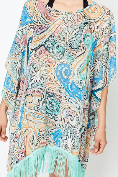 Paisley Print Beach Cover Up