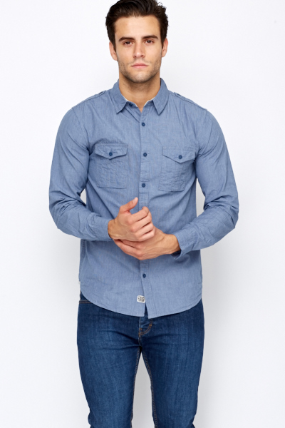 Pocket Front Middle Blue Shirt
