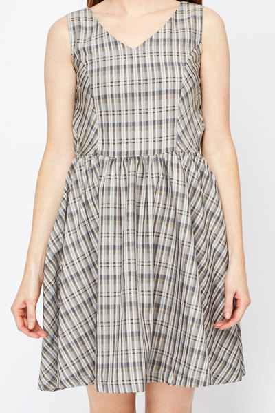 Contrast Check Print Dress