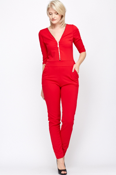 Button Detail Sleeve Jumpsuit