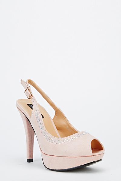 011ffdcd8f76 Suedette Diamante Slingback Heels - Just £5