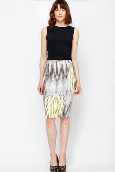0c79150b75028 Abstract Scuba Midi Skirt - Just £5