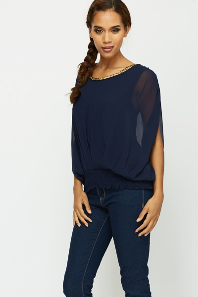 Chain Trim Grecian Blouse