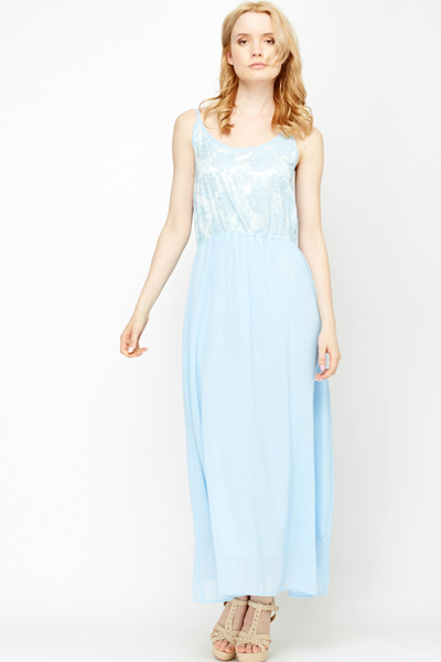 Crochet Mesh Insert Maxi Dress