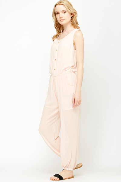 Gold Button Front Jumpsuit