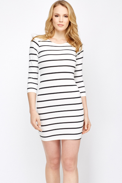 a04d449a246 Mono Stripe Bodycon Dress - Just £5