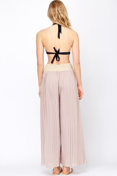Brown/Beige Pleated Palazzo Trousers