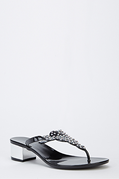 Heeled Encrusted Thong Strap Sandals