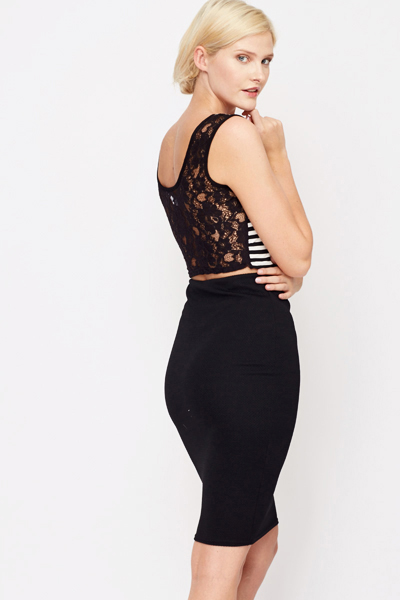 Lace Back Stripe Crop Top