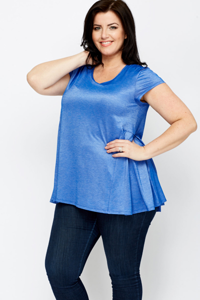 Pleated Side Royal Blue Top
