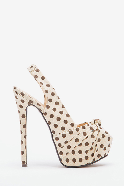 Sling Back Polka Dot High Heels
