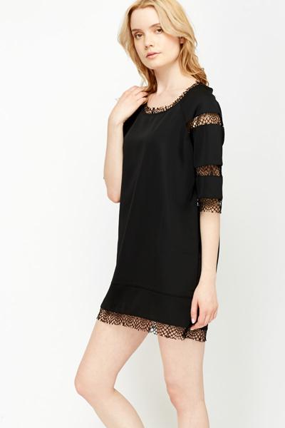Crochet Insert Shift Dress