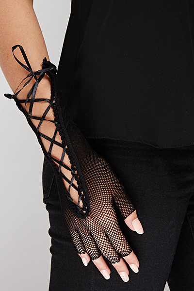 Fishnet Lace Up Fingerless Gloves