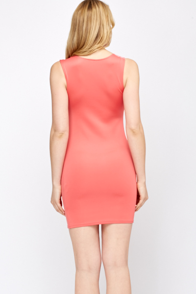 Mesh Panel Front Bodycon Dress