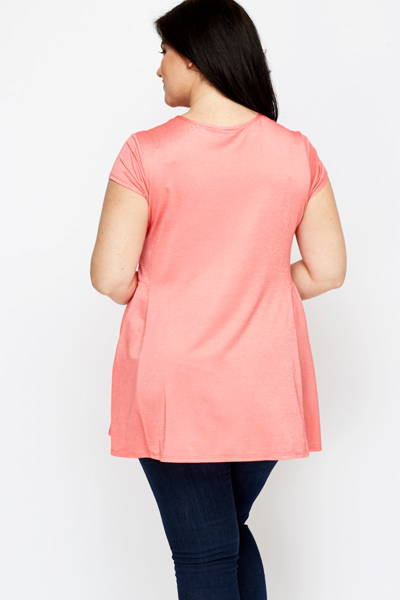 Pleated Side Coral Top