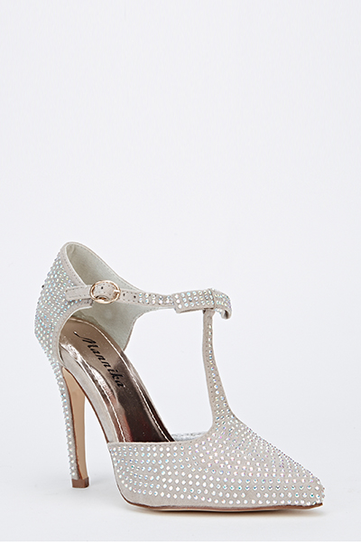 Pointed Toe Encrusted T-Bar Heels