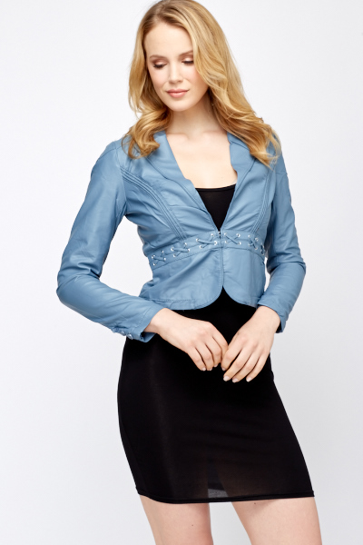 PU Leather Crop Jacket