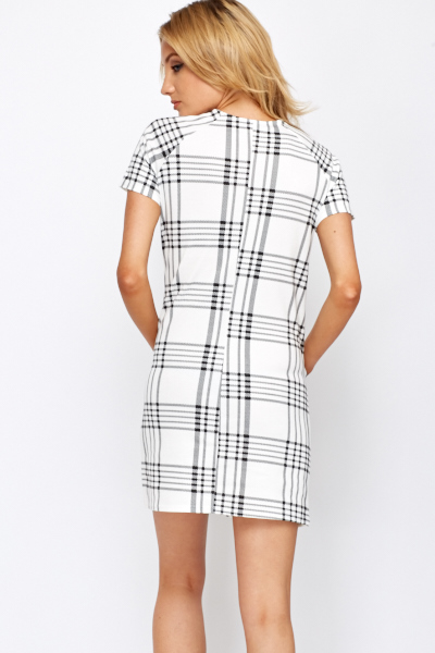 Contrast Grid Check Shift Dress