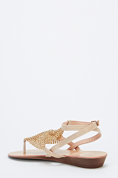 Encrusted Overlay Sandal Wedges