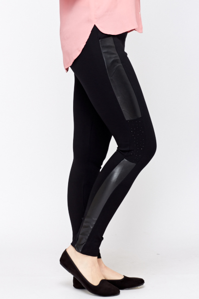 Faux Leather Side Panel Leggings