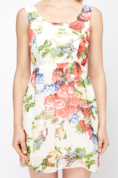 Green Multi Floral Skater Dress