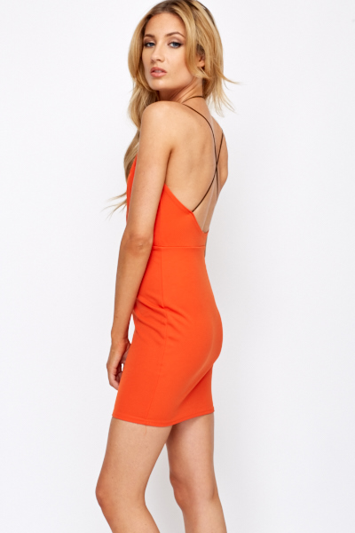Plunge Neck Halter Neck Mini Dress