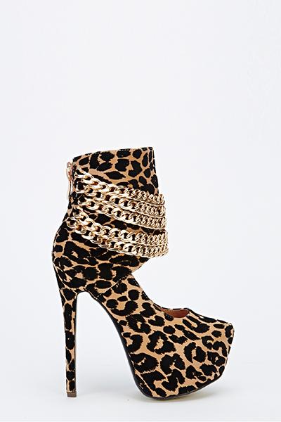 ca46712caa9e Animal Print Multi Chain Platform Heels - Just £5